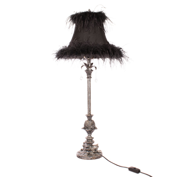 Pewter lamp, vintage, black