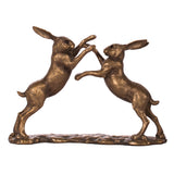 Bronze, hares boxing, hares fighting