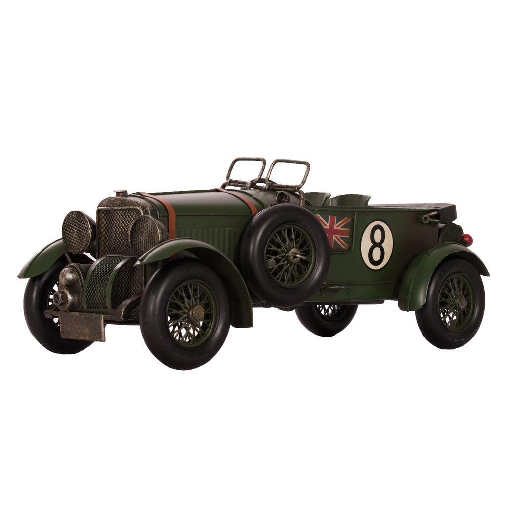 vintage car in racing green