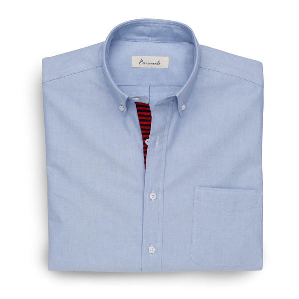 Needlepoint Placket Oxford - Red & Blue