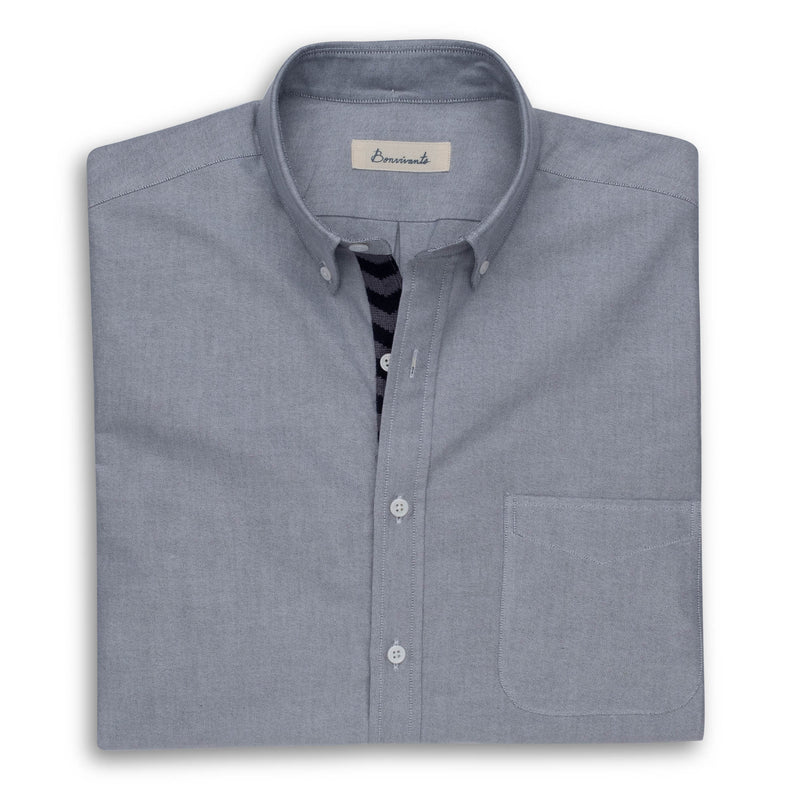 Needlepoint Placket Oxford - Gray Chevron
