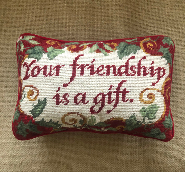 "Vintage ""Your Friendship Is a Gift"" Needlepoint Pillow"