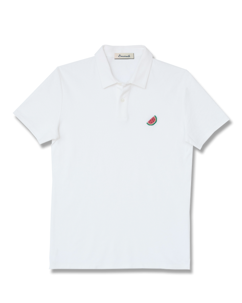 Watermelon Needlepoint Polo