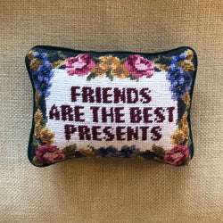 "Vintage Needlepoint Pillow ""Friends Are the Best Presents"""