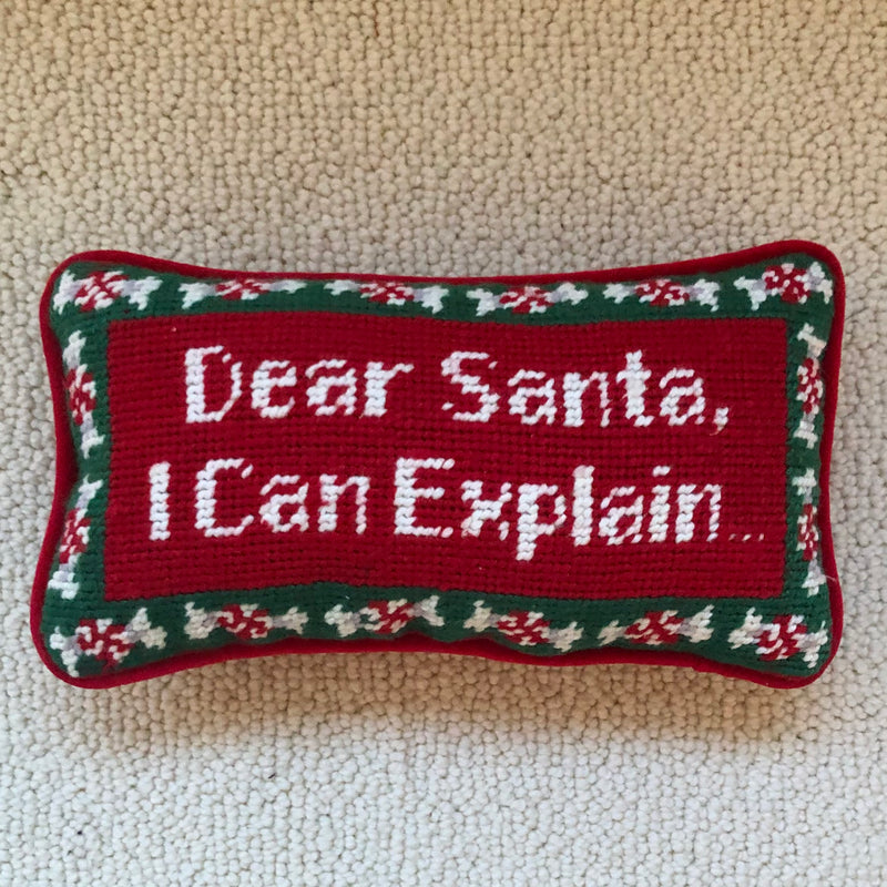 "Vintage Needlepoint Pillow ""Dear Santa, I Can Explain"""