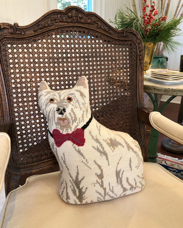 Vintage Needlepoint Westie Pillow