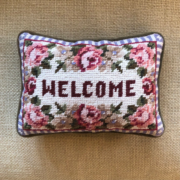 Vintage Needlepoint Welcome Pillow