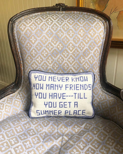 Needlepoint Summer House Pillow