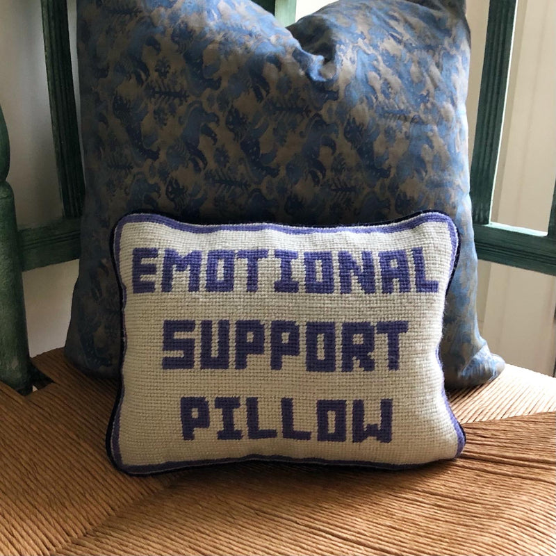 Needlepoint Emotional Support Pillow