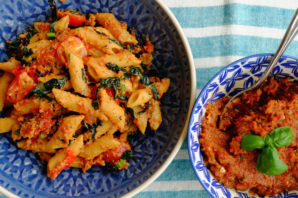 Sun-Dried Tomato Pesto, Cavolo Nero and Cherry Tomatoes