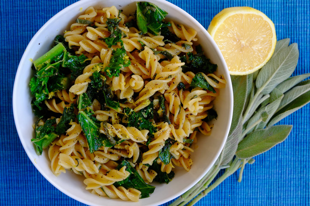 Fusilli with Sage, Lemon and Kale