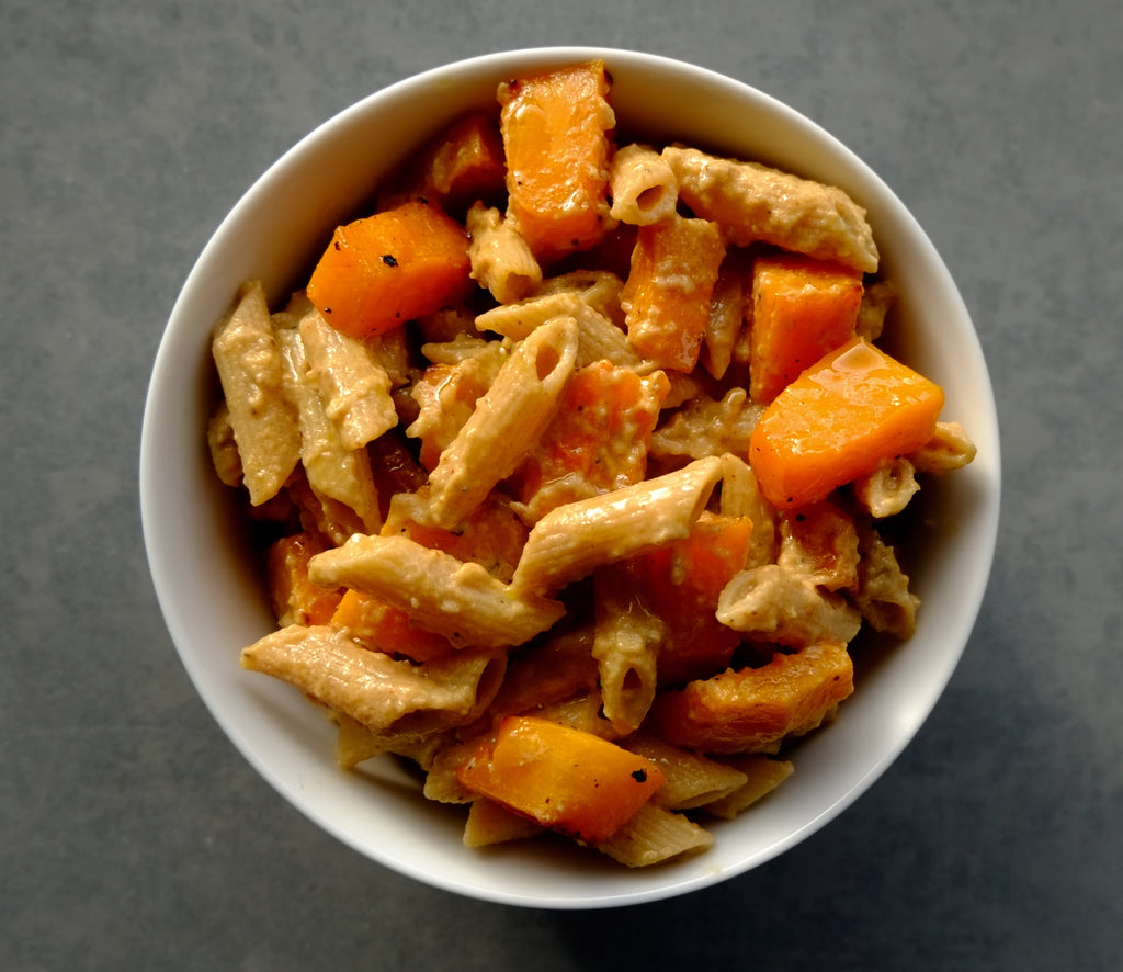 Spicy Aubergine and Roast Butternut Squash Penne