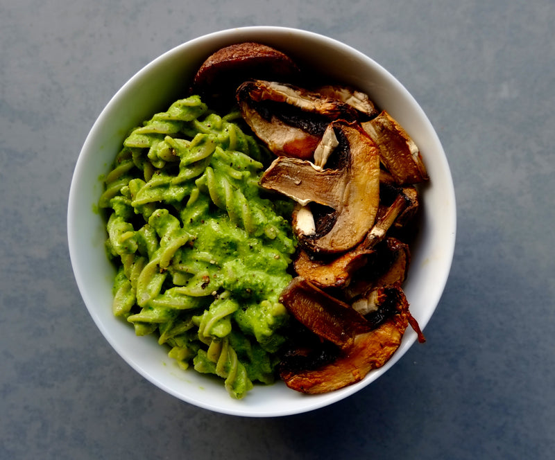 Supergreen Vegan Kale Pesto and Roast Mushrooms