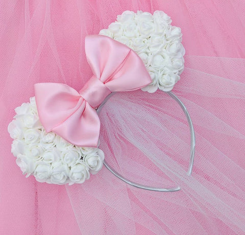 minnie mouse floral ears with veil disney bride to be minniemoon disneymoon