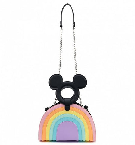 Loungefly Disney Mickey Mouse Pastel Rainbow Cross Body Bag