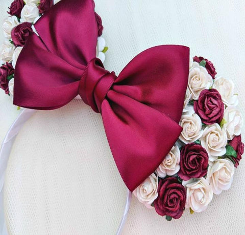 burgundy and ivory floral minnie mouse headband