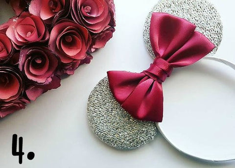 minnie mouse ears with burgundy satin bow by lubyandlola ears