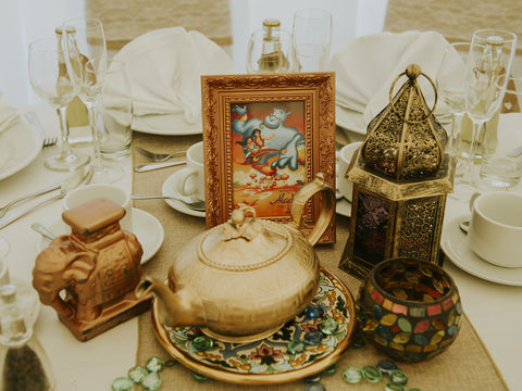 Aladdin themed wedding table center pieces disney wedding inspo