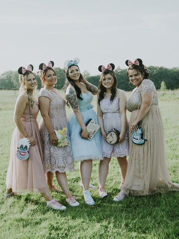 disney wedding inspiration bridesmaids photo goals minnie ears