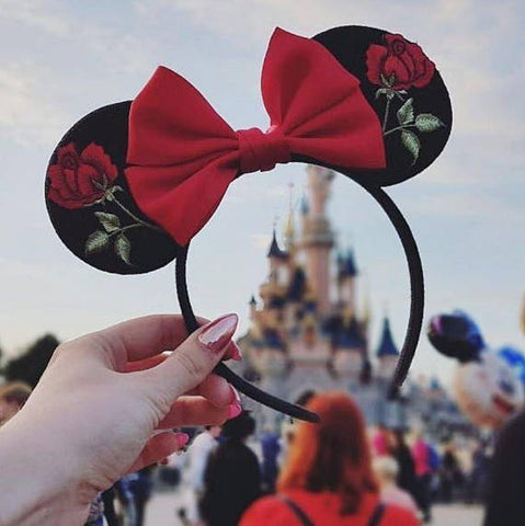 rose Minnie Mouse ears Beauty and The Beast ears Disneyland Paris