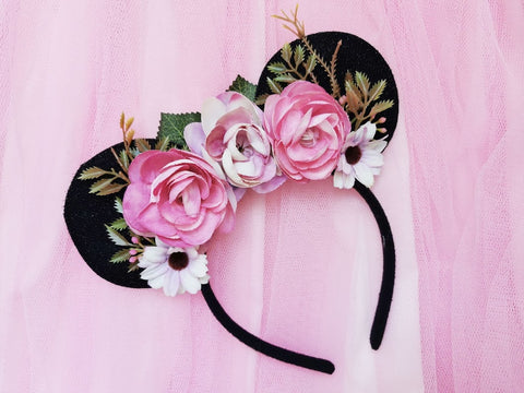 pink flower crown with minnie mouse ears