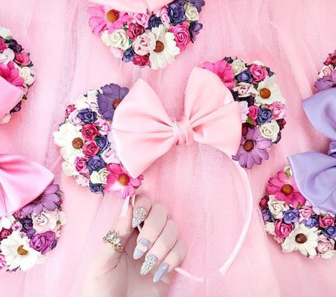 floral tangled inspired headband pretty nails disney flat lay