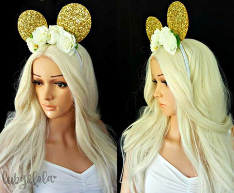 gold glitter minnie mouse ears with flower crown