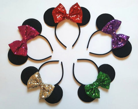 minnie mouse ears red sequin bow rose gold sequin bow