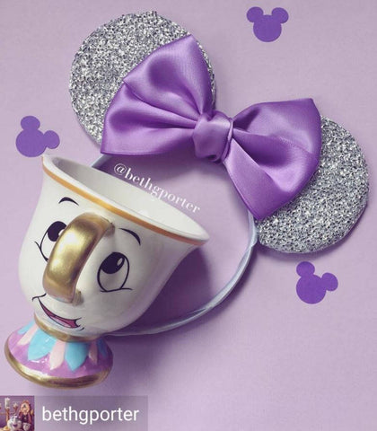 cute minnie mouse ears lilac bow chip cup