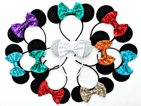 sequin bow minnie mouse ears lubyandlola