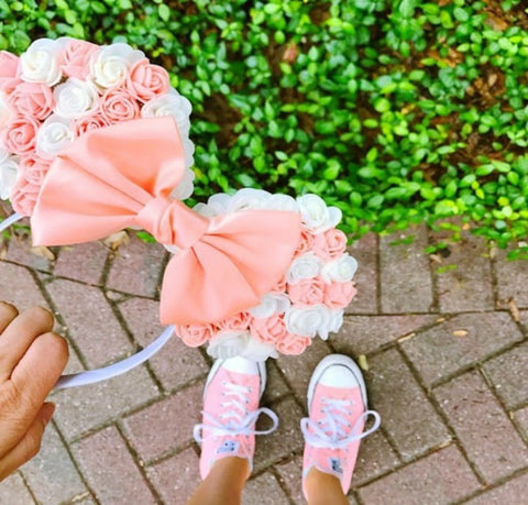 peach and white floral minnie ears
