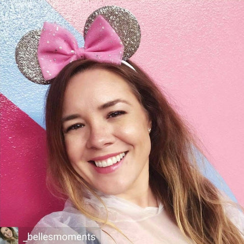 pink bow silver minnie mouse ears
