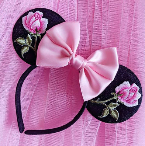 pink rose mickey mouse ears by luby and lola