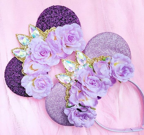 floral rapunzel ears with crystal tiara crown minnie mouse headbands luby and lola ears