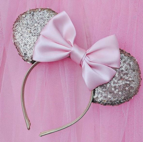 rose gold sequin ears blush pink satin bow lubyandlola ears