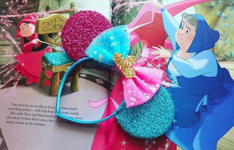 pink and blue minnie mouse ears sleeping beauty headband