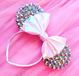 Crystal Ears with Iridescent Bow