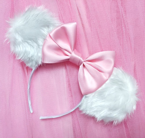 Furry Marie Inspired Ears with Satin Bow