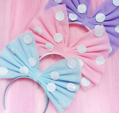 Pretty Polka Dot Net Bow Headband