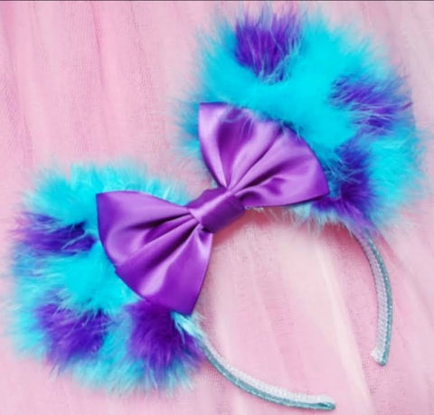Fluffed Up Sulley Ears with Satin Bow