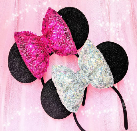 Ears with Puffy Sequin Bow - Custom Colours