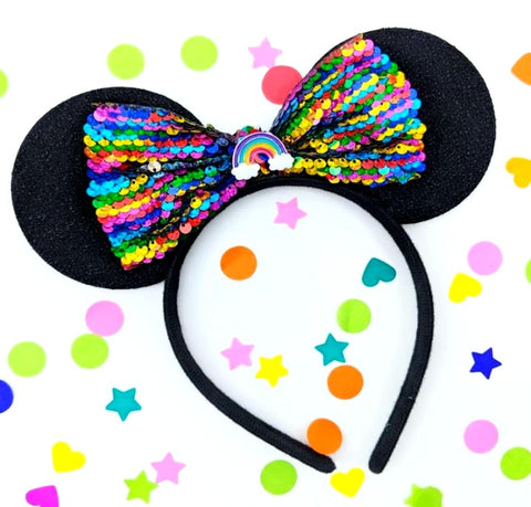 Sequin Rainbow Bow Ears