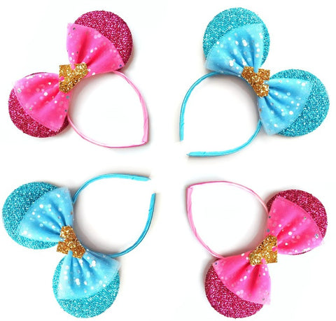 Pink or Blue Dress Inspired Ears With Crown