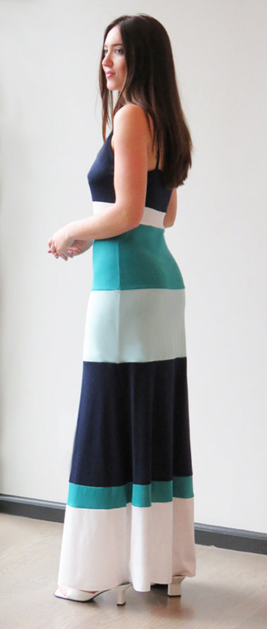 Aqua Striped Maxi Sundress