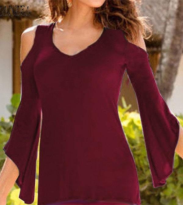 Bell Sleeve Cold Shoulder Top Crimson