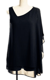 Chiffon Draped Shoulder Top Black