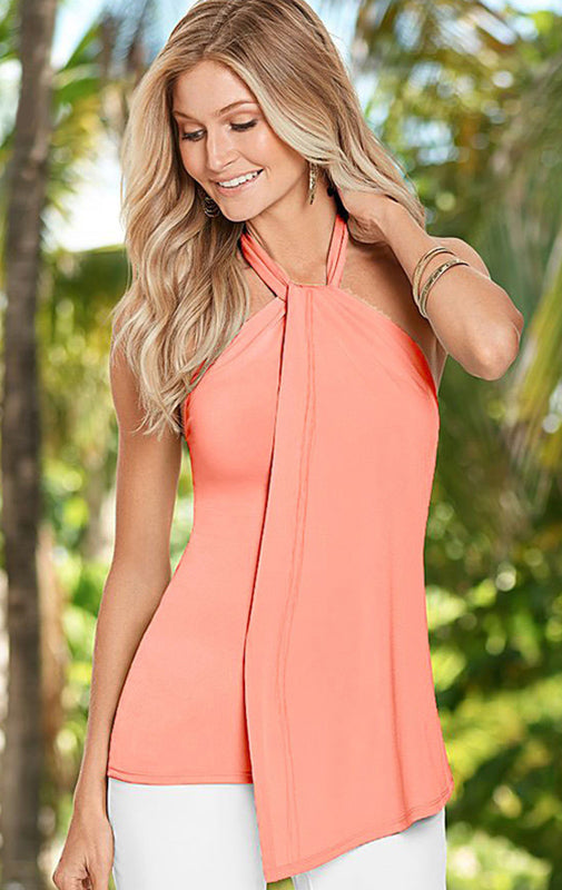 Halter Draped Front Tie Neck Knit Top Coral