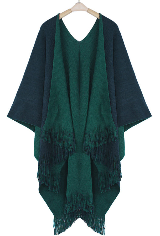Sweater Knit Wrap Poncho Navy & Hunter Green Reversible