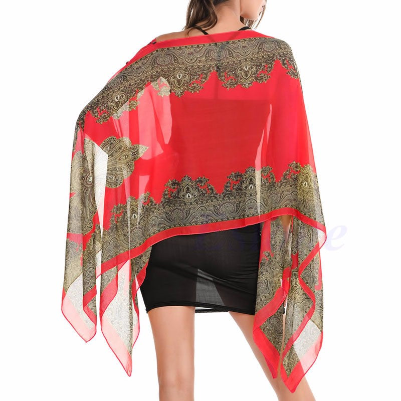 Red Chiffon Gold Border Sheer Tunic Scarf