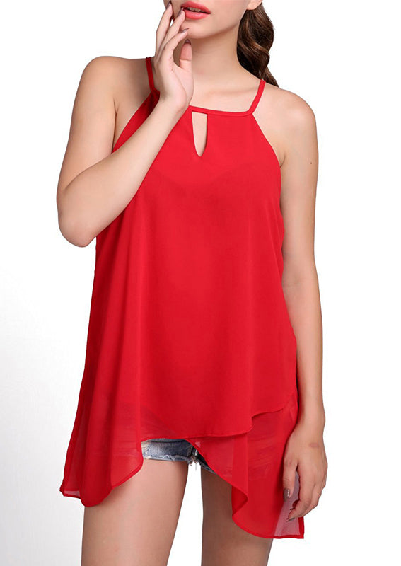 Chiffon Dropped Hem Keyhole Top Red